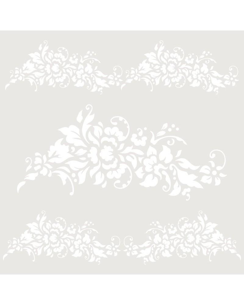 Stencil Cenefa 056 Tres Florales