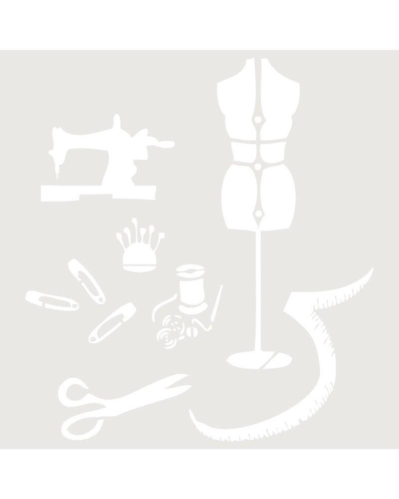 Stencil Composicion 021 Costura Maniqui