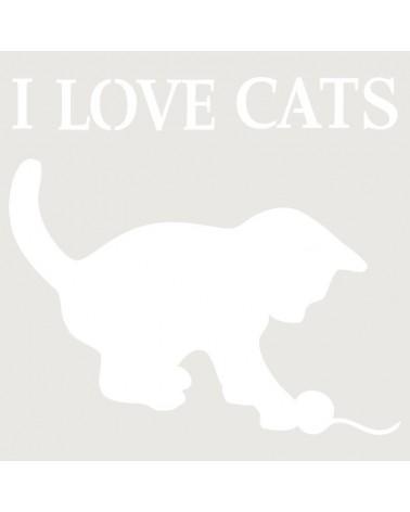 Stencil Composicion 031 I Love Cats