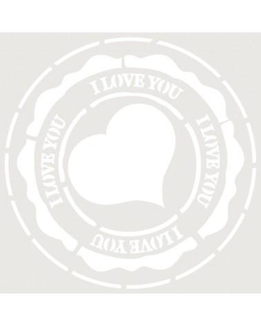 Stencil Composicion 070 Sello I Love You