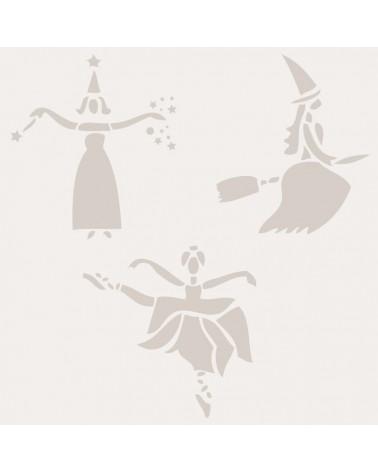 Stencil Fiesta 002 Haloween Brujas Bailando