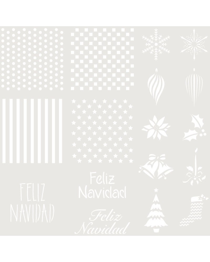 Stencil Fiesta 035 Fondos + Feliz Navidad