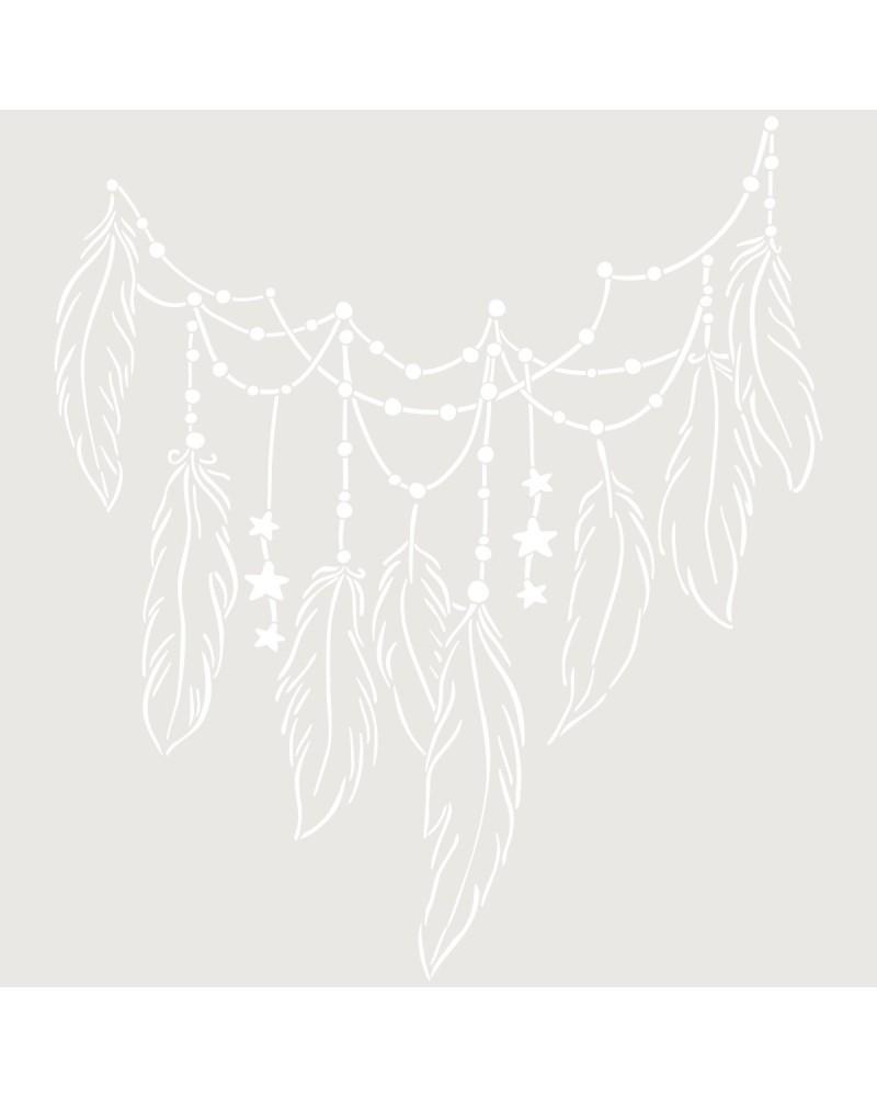 Stencil Figura 066 Plumas y Estrellas