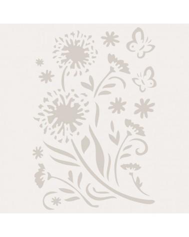 Stencil Floral 009 Flores Y Mariposas