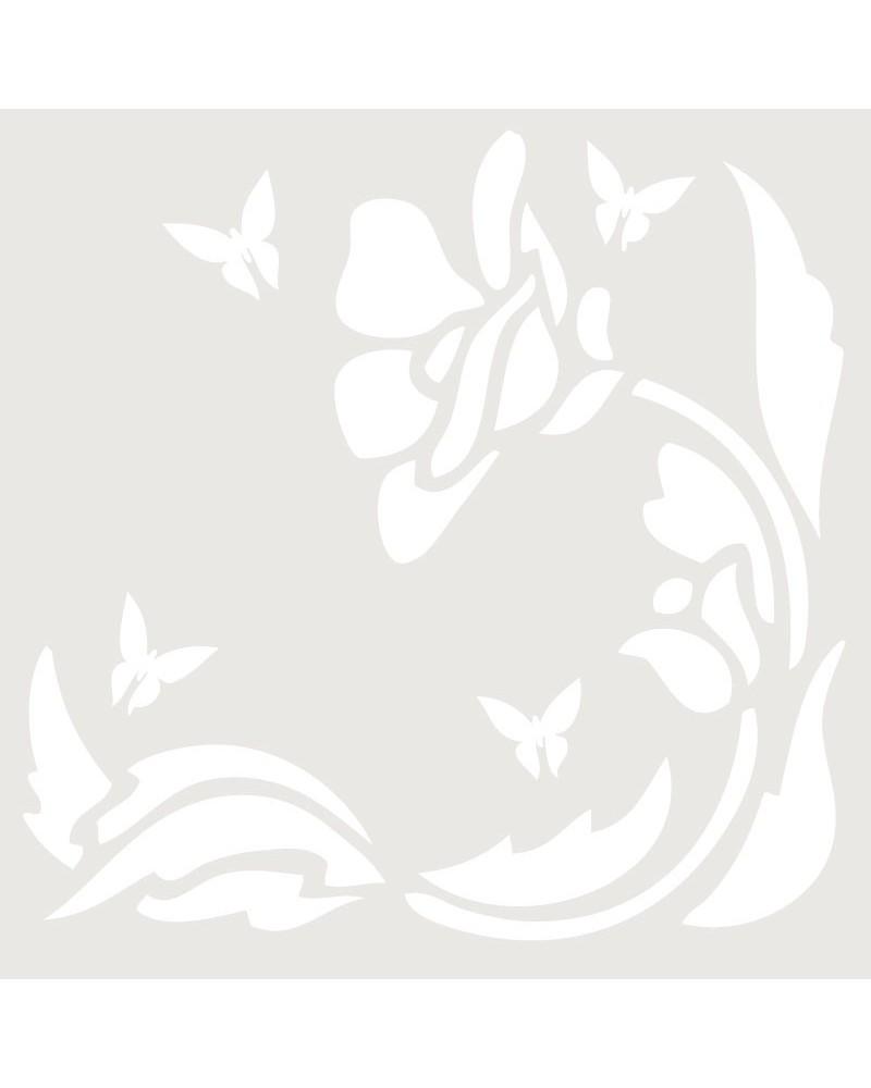 Stencil Floral 014 Flor Y 4 Mariposas