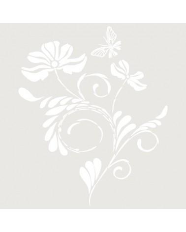 Stencil Floral 027 Ramo Flor Y Mariposa