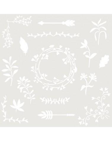Stencil Floral 045 Elementos Florales