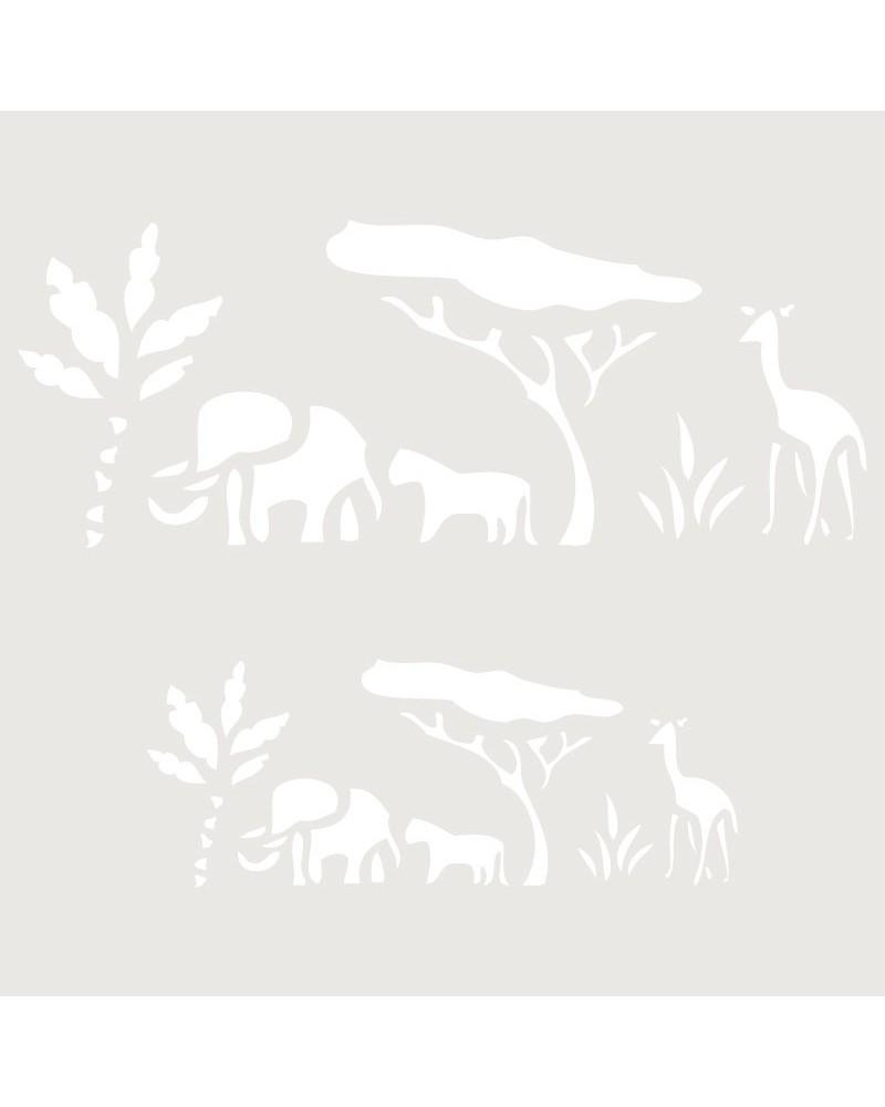 Stencil Infantil 008 Elefante Jirafa