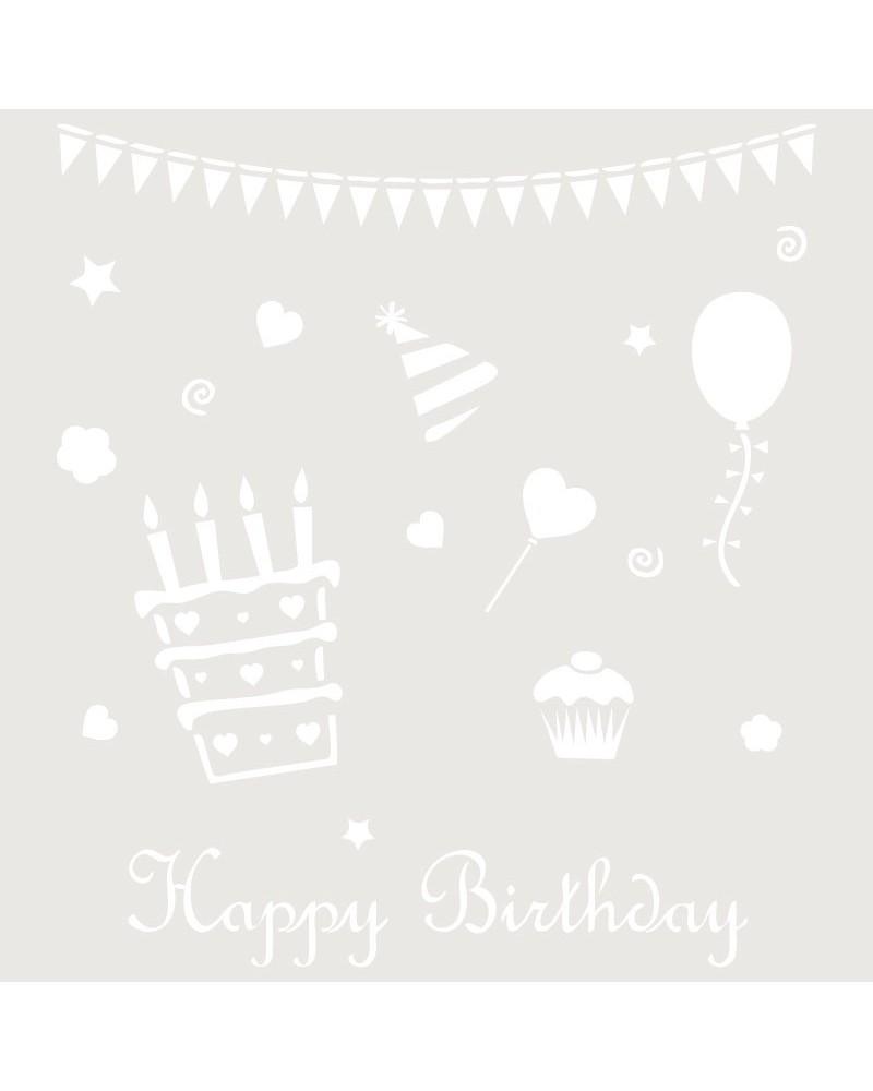 Stencil Infantil 017 Happy Birthday