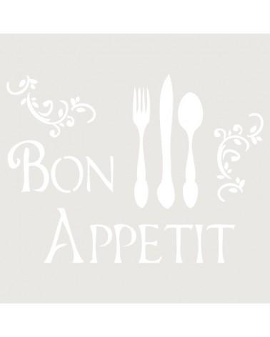 Stencil Texto 033 Bon Appetite Cubiertos