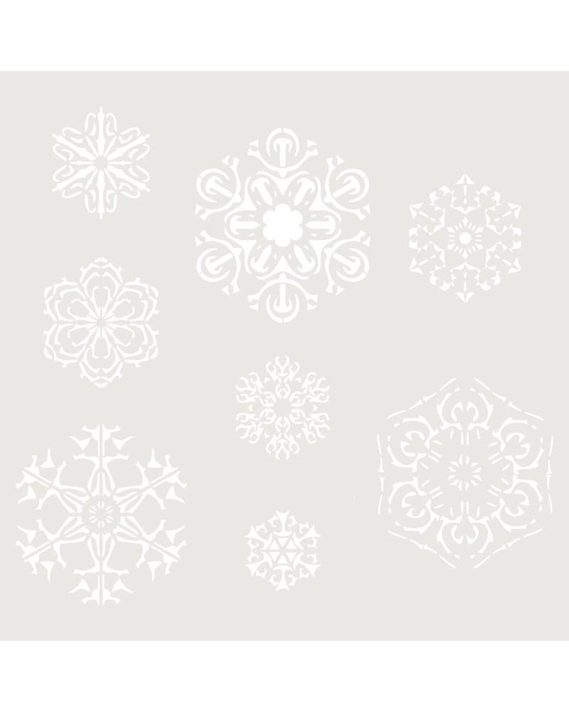Stencil Fiesta 008 Navidad Copos De Nieve