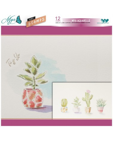 Rotuladores Aquarelle + Sellos Cactus y Macetas
