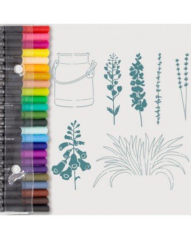 Aquarelle Markers and Milk Container Stamp Set
