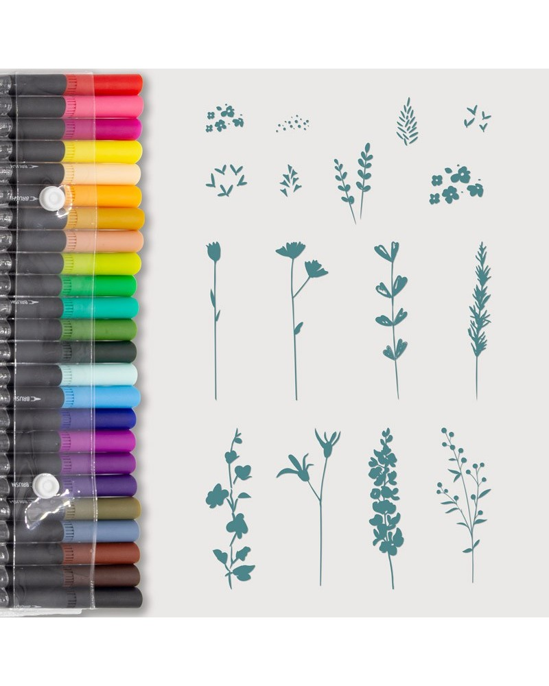 Aquarelle Markers and Mini Floral Stamp Set
