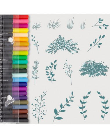 Aquarelle Markers and Mini Herbs Stamp Set