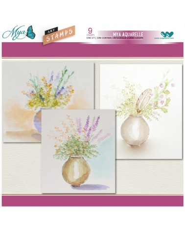 Aquarelle Markers and Pot Feather Stamp Set