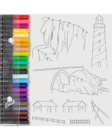 Aquarelle Markers and Lighthouse Stamp Set