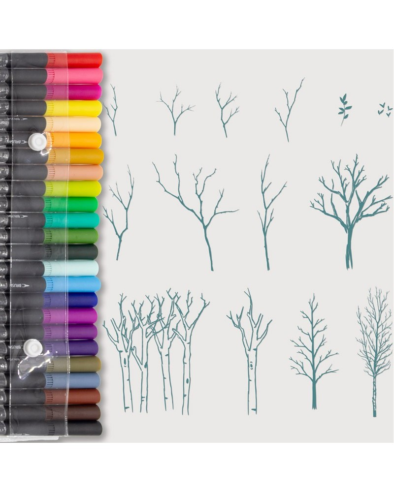 Aquarelle Markers and Small Trees Stamp Set