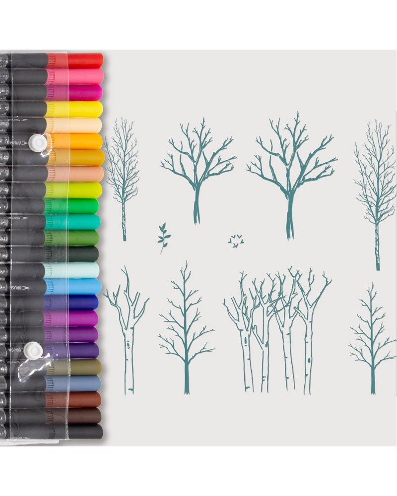 Aquarelle Markers and Big Trees Stamp Set