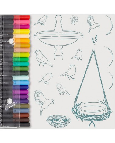 Aquarelle Markers and Birds Stamp Set