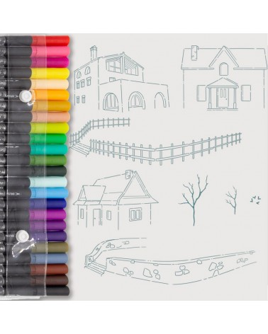 Aquarelle Markers and Houses Stamp Set