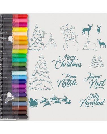 Aquarelle Markers and Christmas 1 Stamp Set