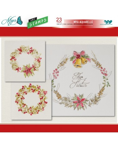 Aquarelle Markers and Christmas Wreath Stamp Set