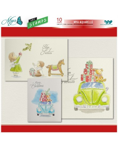 Aquarelle Markers and Christmas Gifts Stamp Set