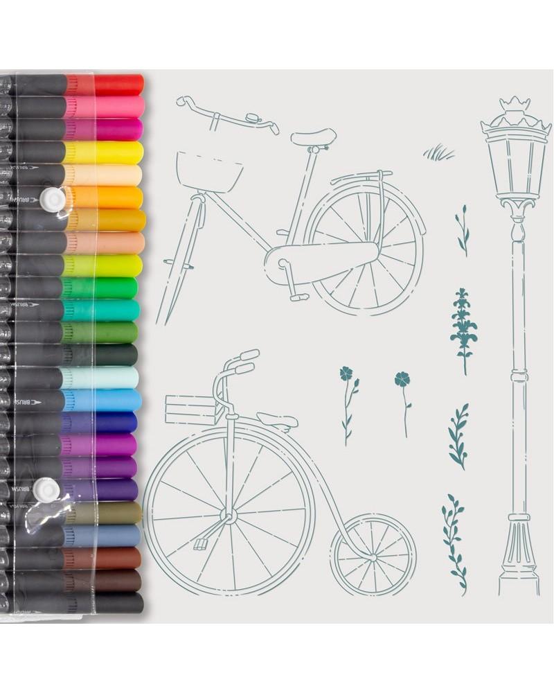 Rotuladores Aquarelle y Sellos Bicicletas