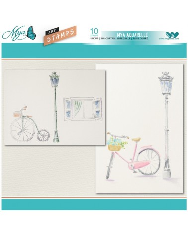 Aquarelle Markers and Bikes Stamp Set