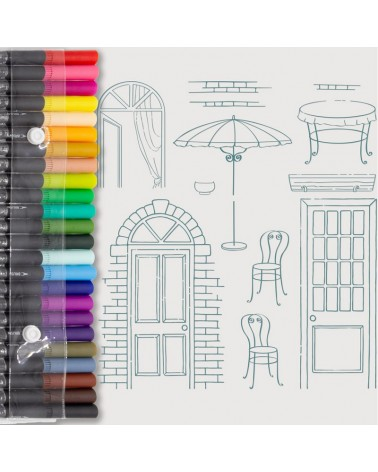 Aquarelle Markers and Doors Stamp Set