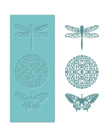 Silicone Mold MYA 040 Dragonfly, Mandala and Butterfly