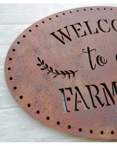 Soporte Madera 099 Cartel Welcome to our Farmhouse
