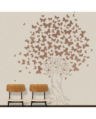 Stencil Pared Arbol 001 Mariposas