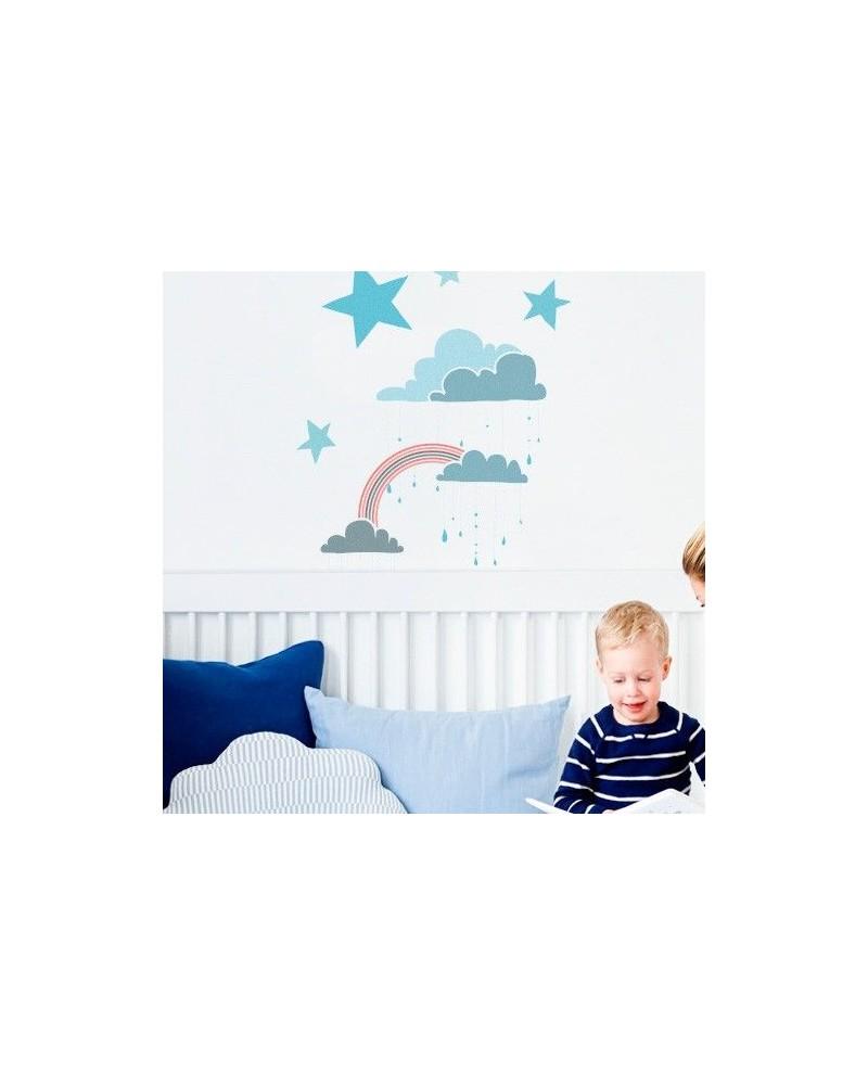 Wall Stencil Kids 001 Nubes Arcoiris