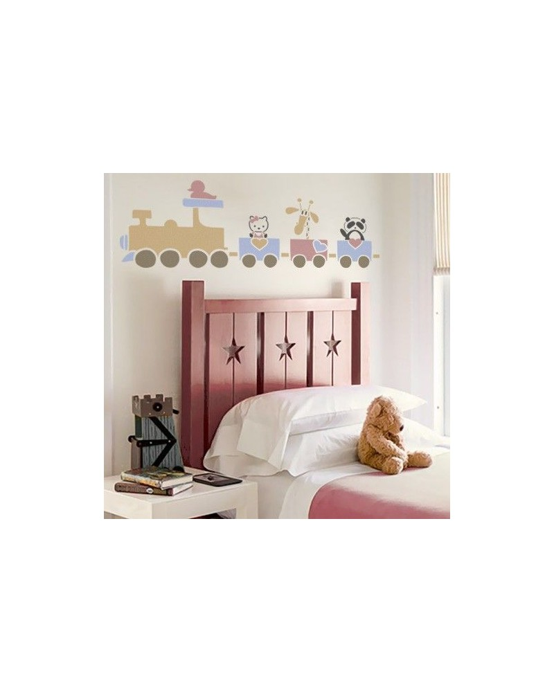 Wall Stencil Kids 005 Tren y Animals