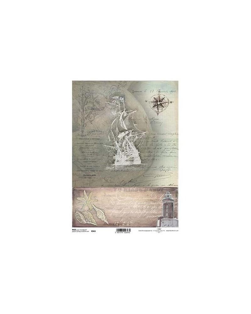 Papel de Arroz Decoupage R943 A4