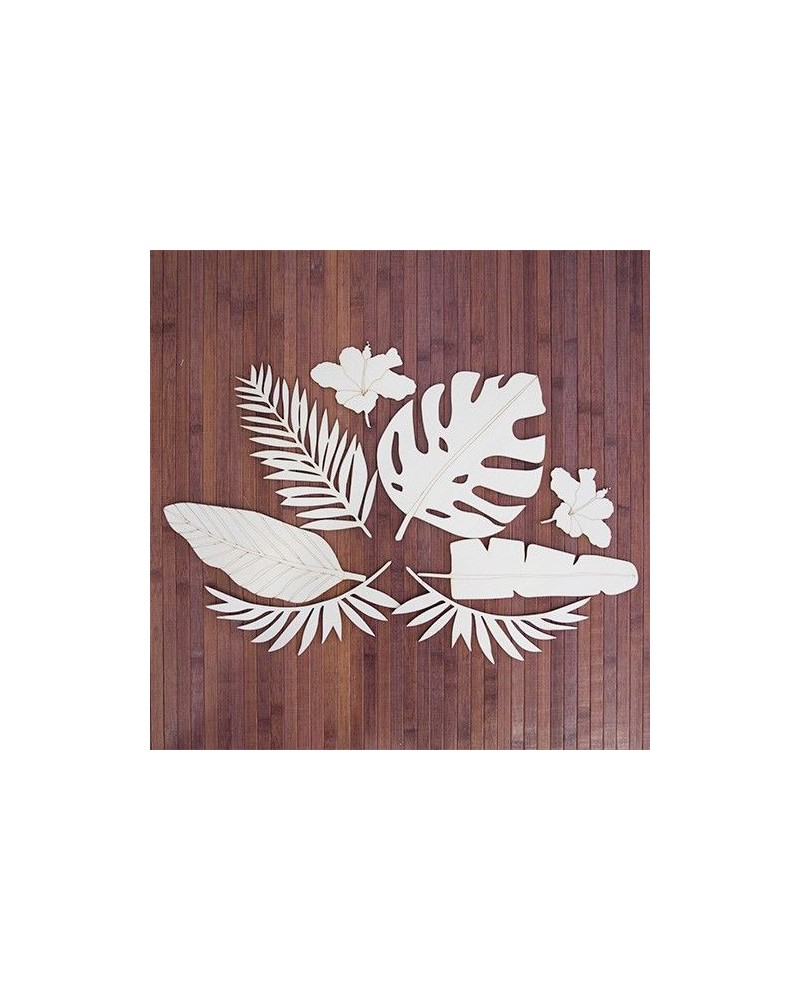 soporte madera 083 hojas tropicales