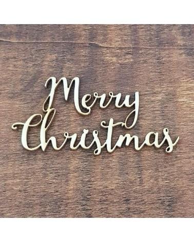 Silueta Texto 022 Merry Christmas - Madera