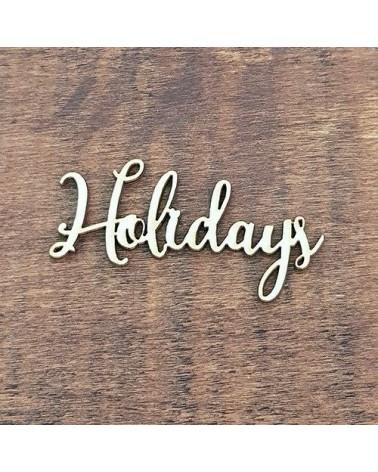 Silueta Texto 024 Holidays - Madera