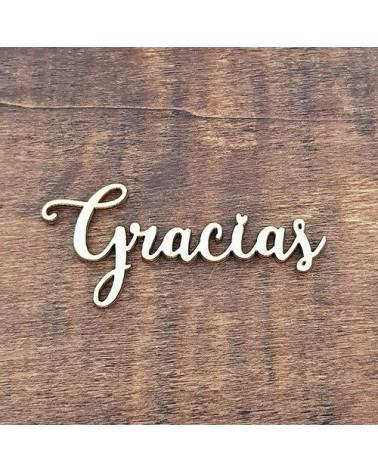 Silueta Texto 035 Gracias - Madera