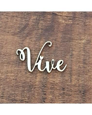 Silueta Texto 038 Vive - Madera