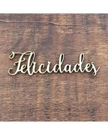 Silueta Texto 041 Felicidades - Madera