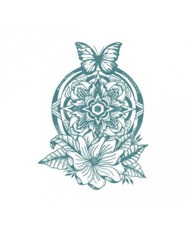 Sello Caucho Mya 0053 Flores Y Mariposa